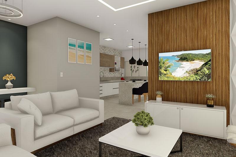 Sala de TV com parede em madeira