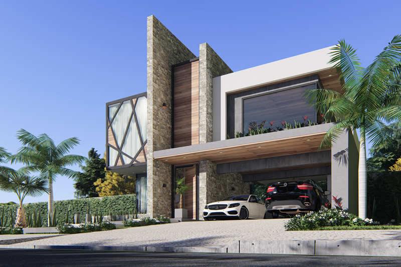 Projeto de sobrado com fachada imponente