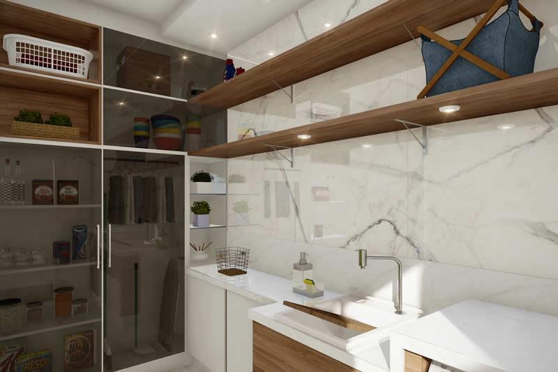 Lavanderia com armário