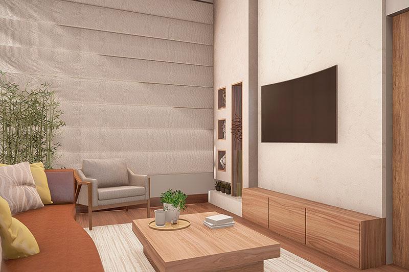 Sala de TV com cortina sanfonada