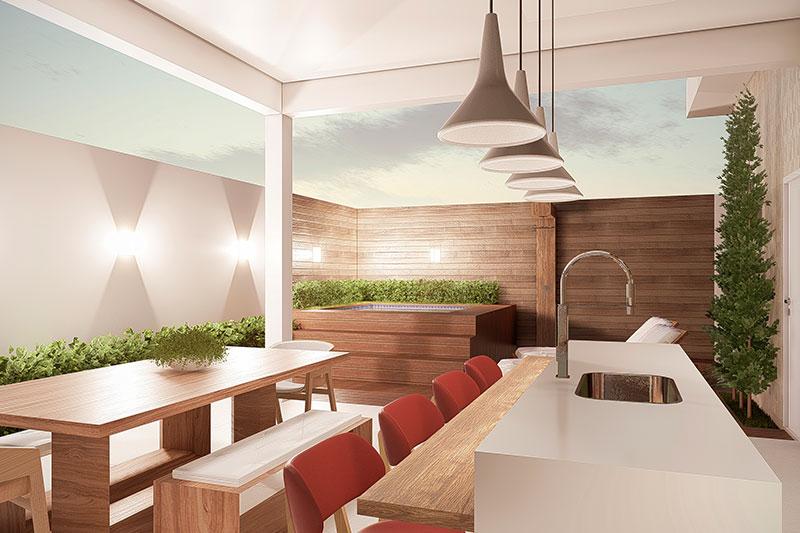 Área gourmet com mesa rústica de madeira