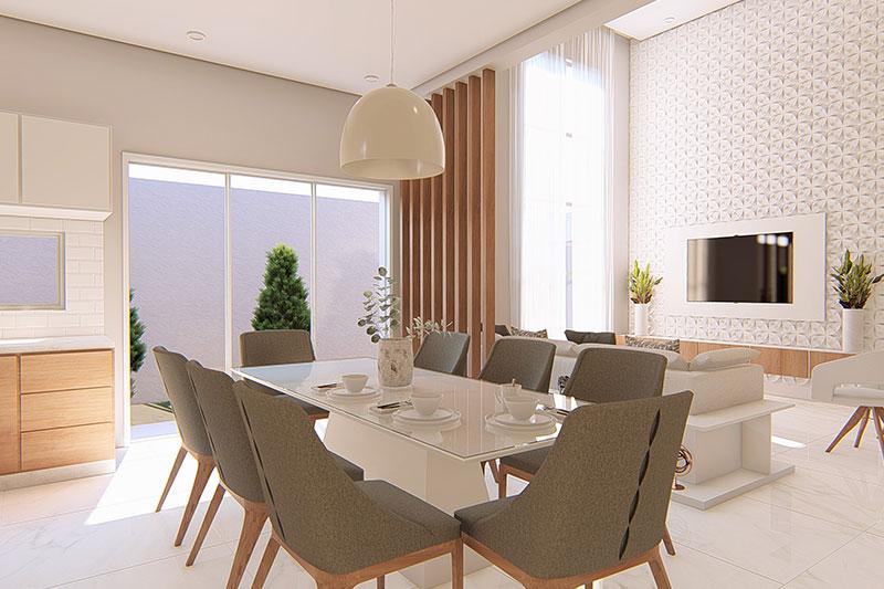 Sala de Jantar com iluminação moderna
