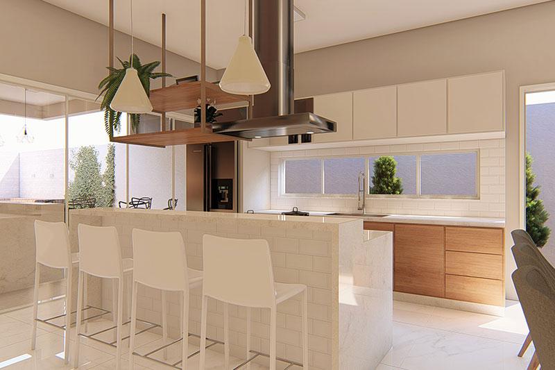 Cozinha com detalhes em branco