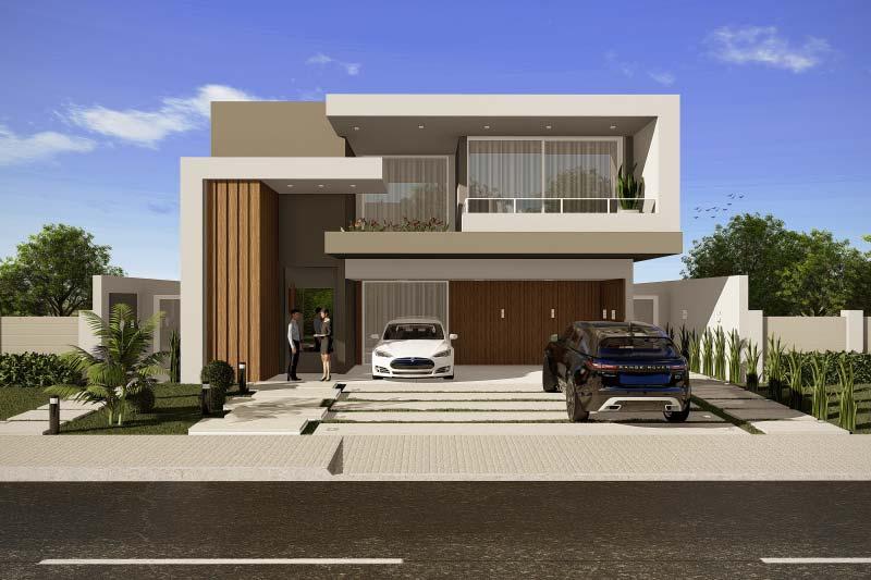 Projeto de sobrado com fachada moderna