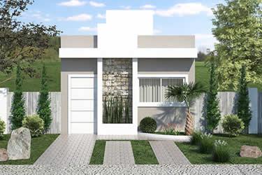 Planta de casa popular com 3 quartos