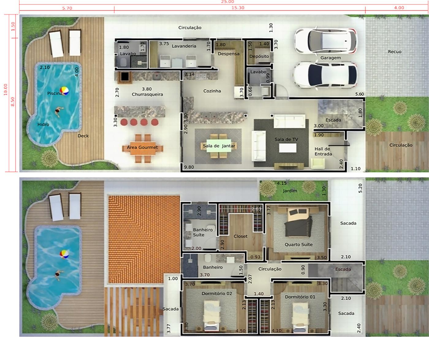 Planta de casa com telhado duas águas. Planta para terreno 10x25