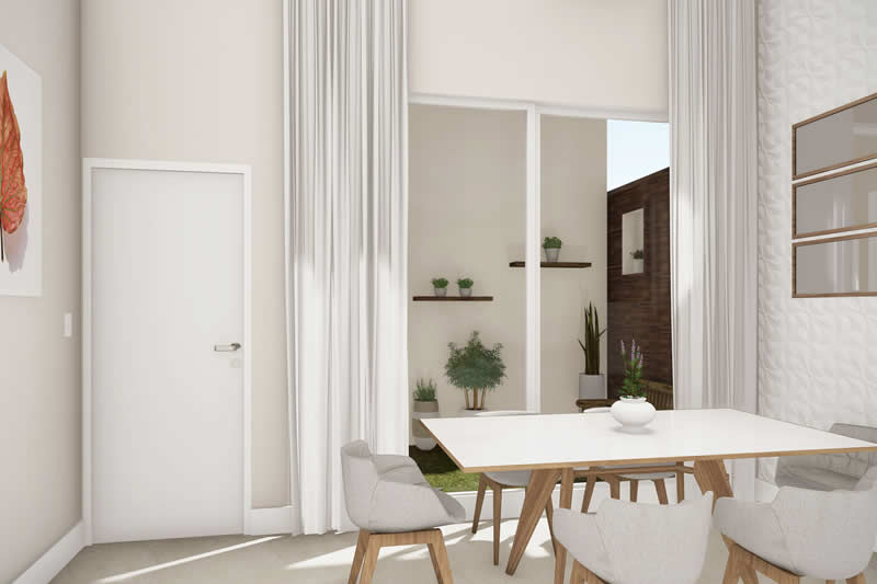 Sala de jantar com jardim
