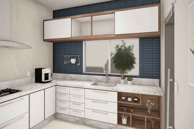 Cozinha com revestimento azul