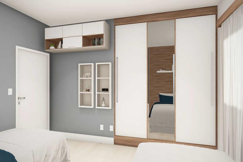 Quarto duplo com armário