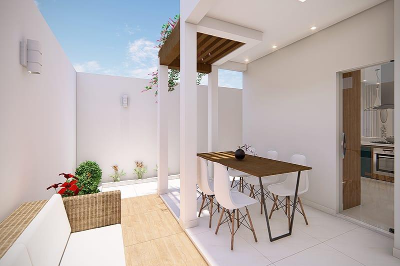 Planta de casa com cozinha no fundo