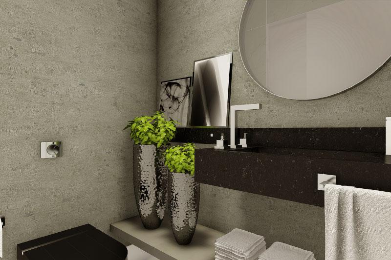 Planta de sobrado com quarto no térreo