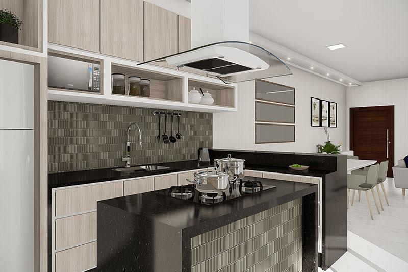 Cozinha com revestimentos verdes