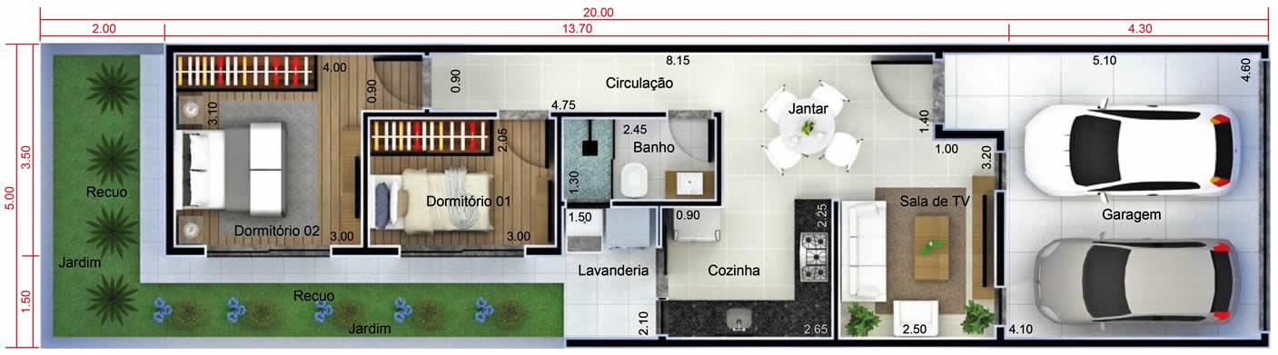 Planta de casa para vender ou alugar. Planta para terreno 5x20