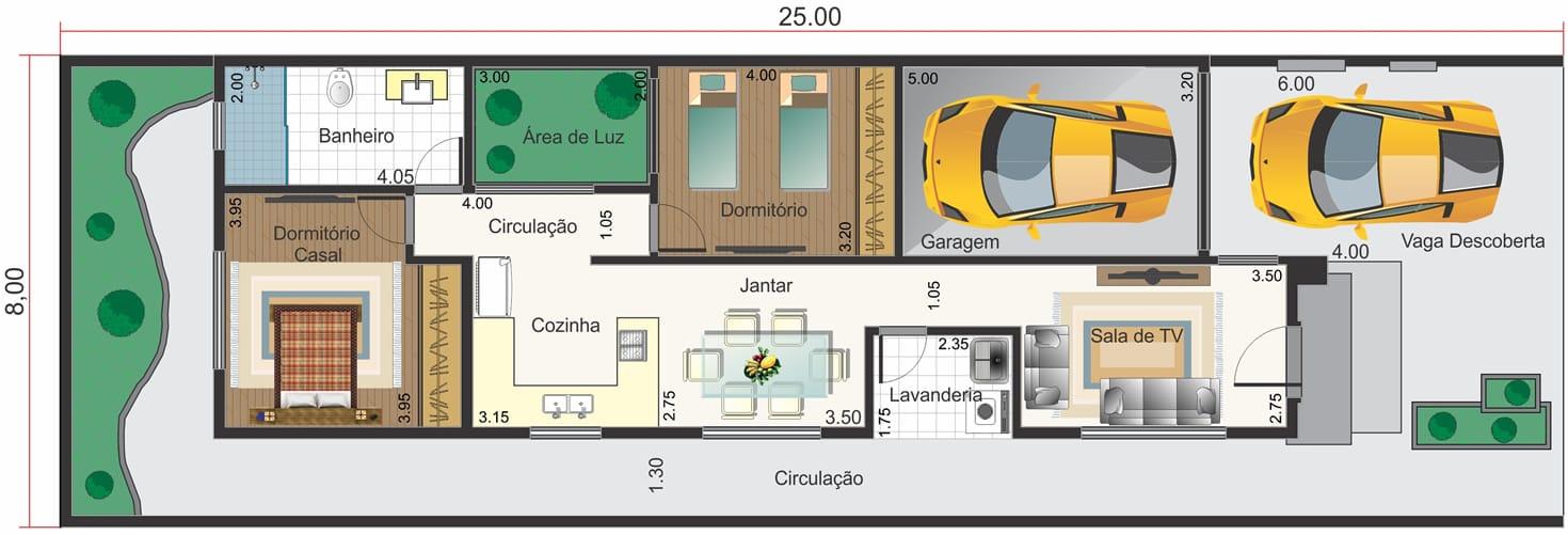 Planta de casa térrea c/ 2 dormitórios. Planta para terreno 8x20