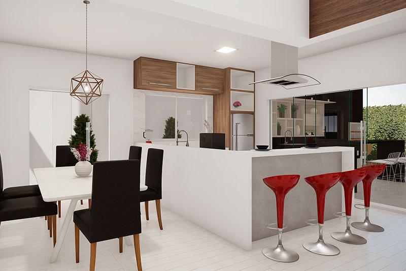 Sala de jantar moderna integrada