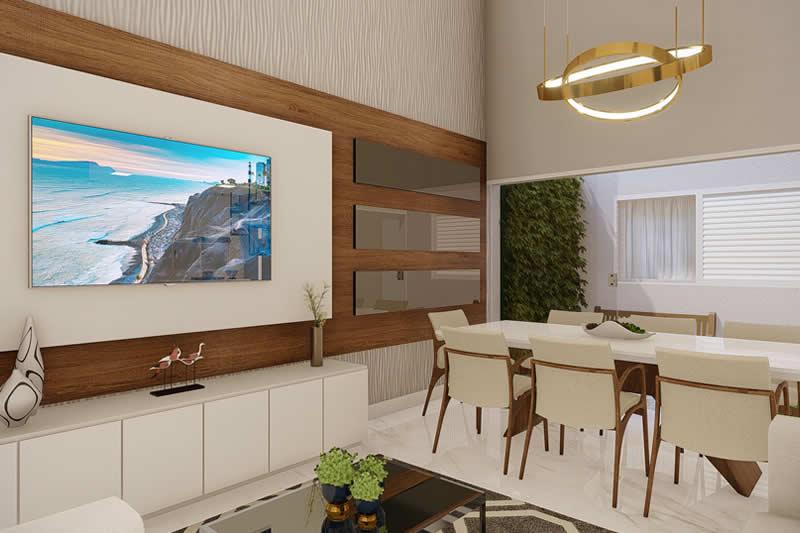 Sala de TV moderna integrada a sala de jantar