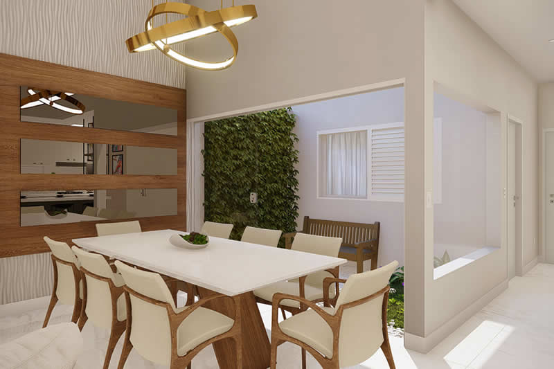 Sala de jantar com área de luz