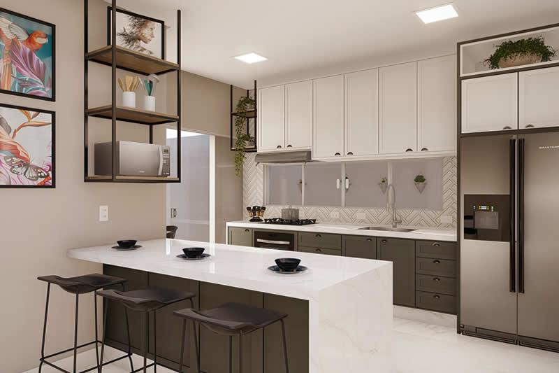 Cozinha moderna em preto e branco