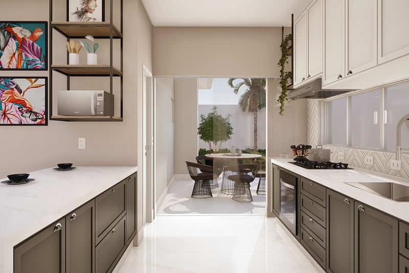 Cozinha ligada a área de lazer