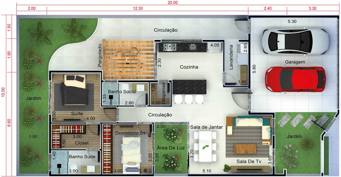 Planta de casa moderna com 2 quartos. Planta para terreno 10x20