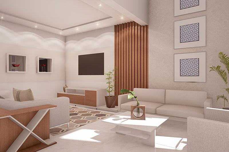 Sala de estar integrada a sala de tv
