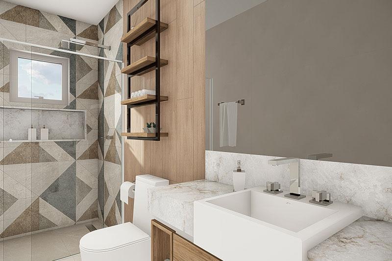 Banheiro com revestimentos geométricos