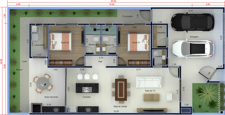 Planta de casa com 2 quartos e área de lazer. Planta para terreno 10x20