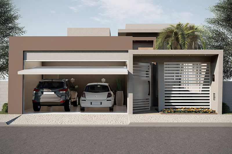 Planta de casa pequena com garagem
