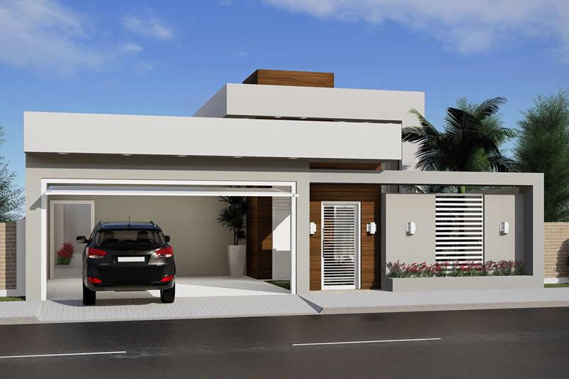 Planta de casa com 3 quartos e piscina