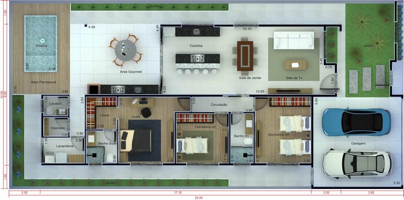 Planta de casa com 3 quartos e piscina. Planta para terreno 12x25