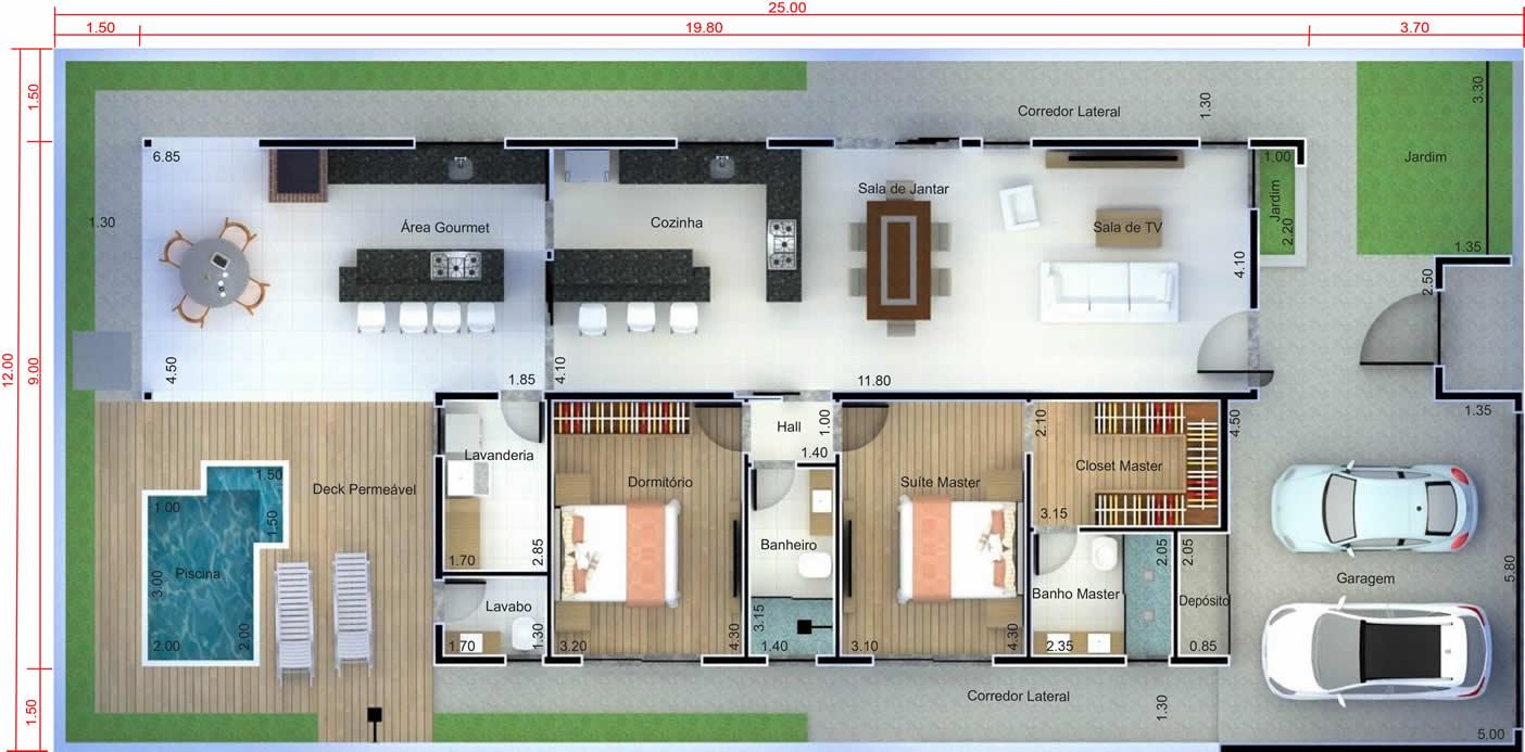 Planta de casa com quarto na frente. Planta para terreno 12x25