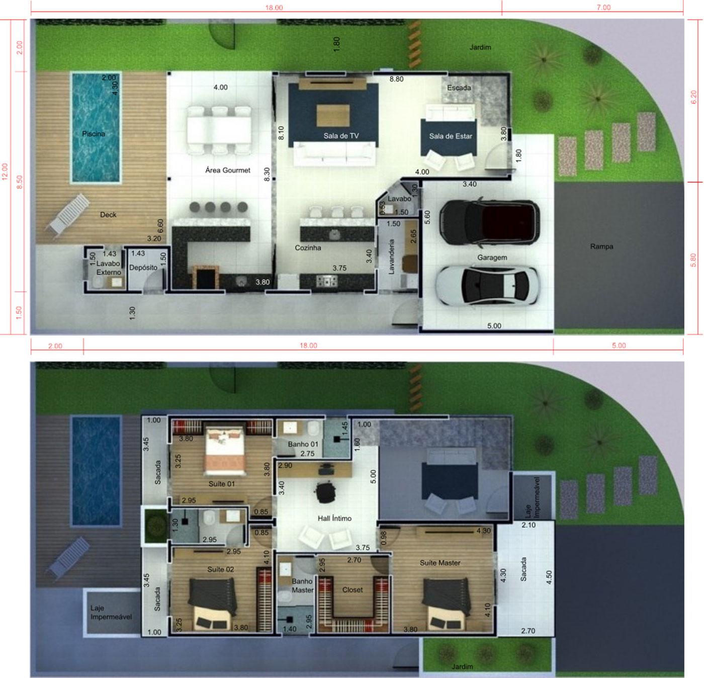 Planta de casa de esquina com 3 quartos. Planta para terreno 12x25