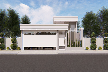Projeto de casa térrea com pé-direito duplo