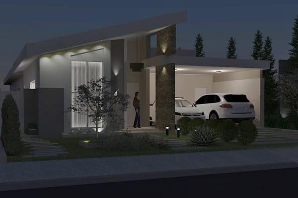 Planta de casa com suite e closet