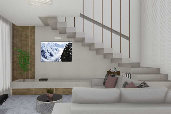 Sala de TV pequena branca