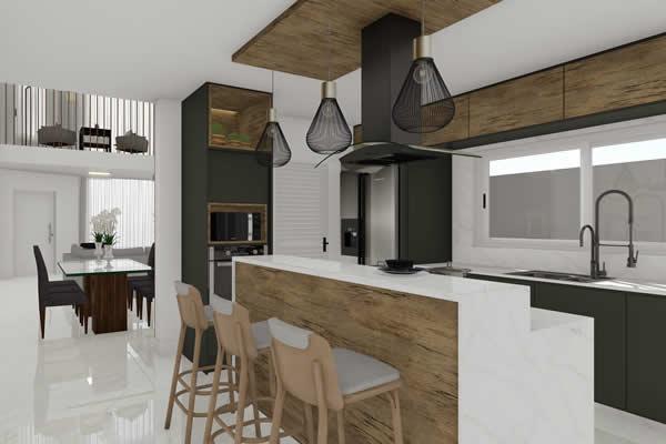 Cozinha com bancada branca e madeira