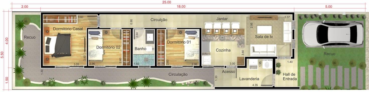 Planta de casa simples e moderna. Planta para terreno 5,50x25