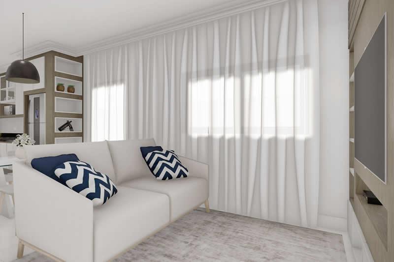 Sala de tv pequena com cortina