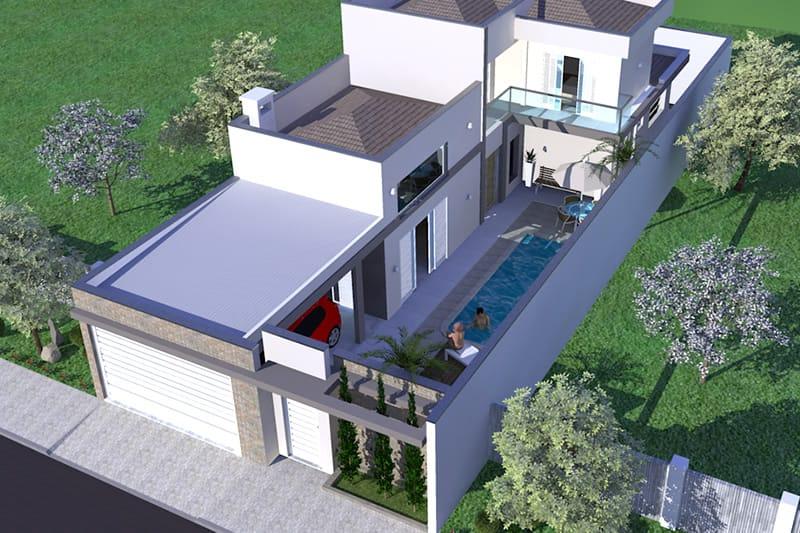 Casa com piscina na lateral