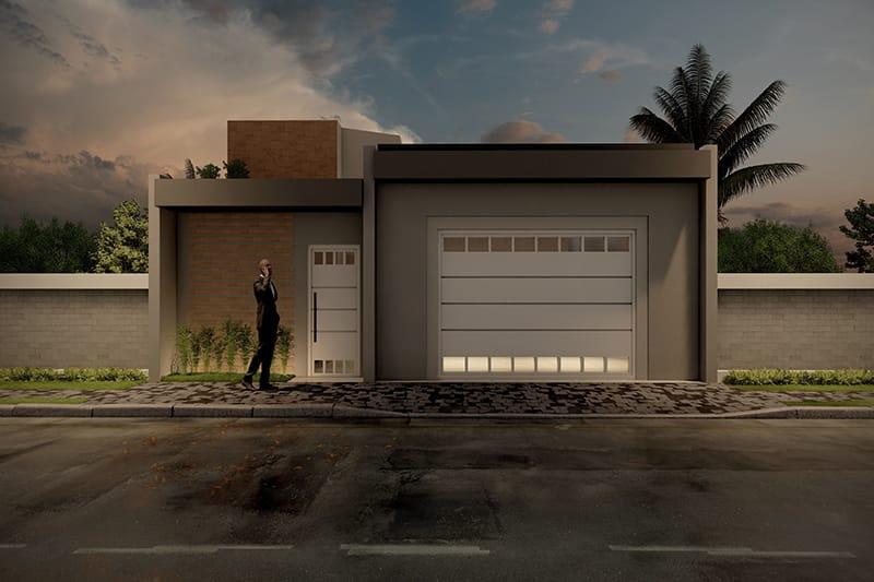 Garagem com iluminação