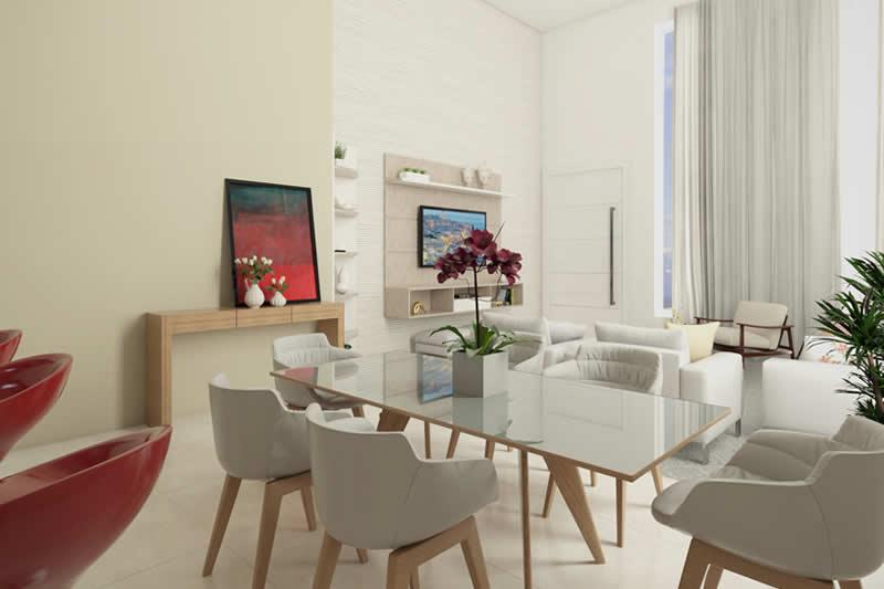 Sala de jantar compacta com integração