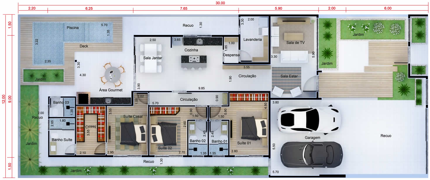 Planta De Casa T Rrea Com 3 Su Tes Projetos De Casas Modelos De