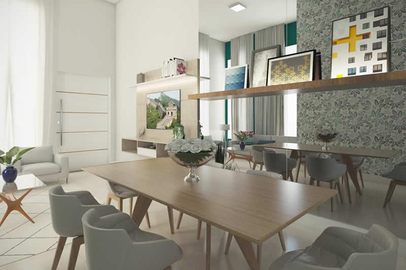 Planta de casa com cozinha integrada