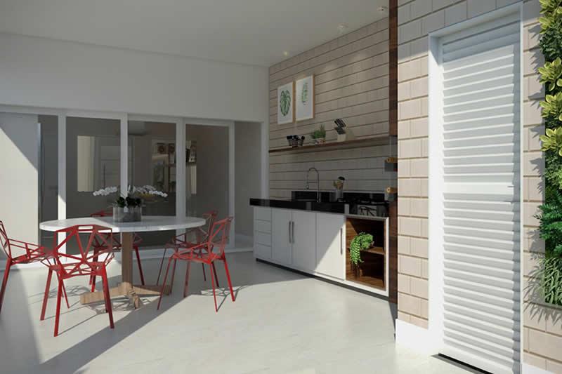 Modelo de área gourmet com tijolos