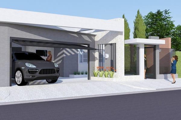 Planta de casa moderna com rea gourmet projetos de for Casa moderna 7x20
