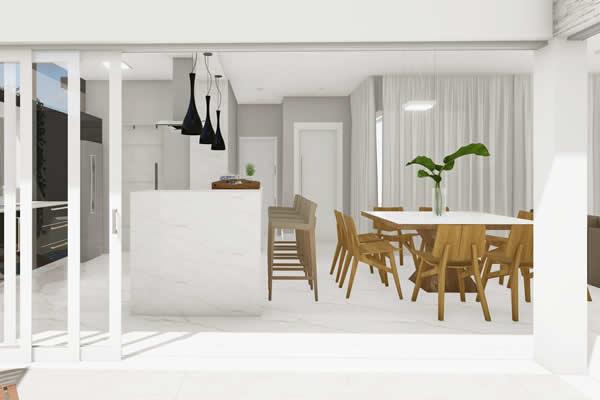 Cozinha integrada com porta de vidro