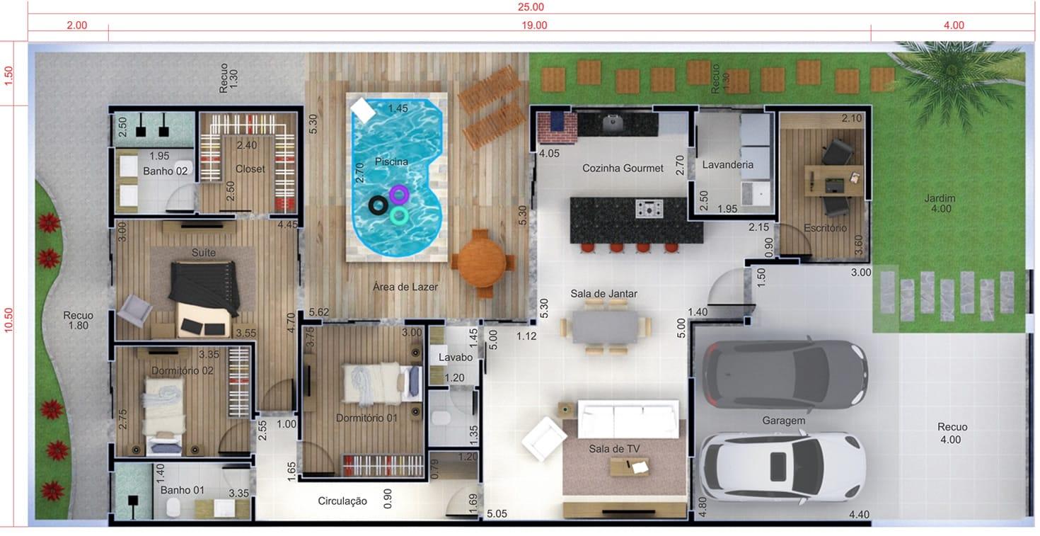 Planta de casa térrea com piscina. Planta para terreno 12x25