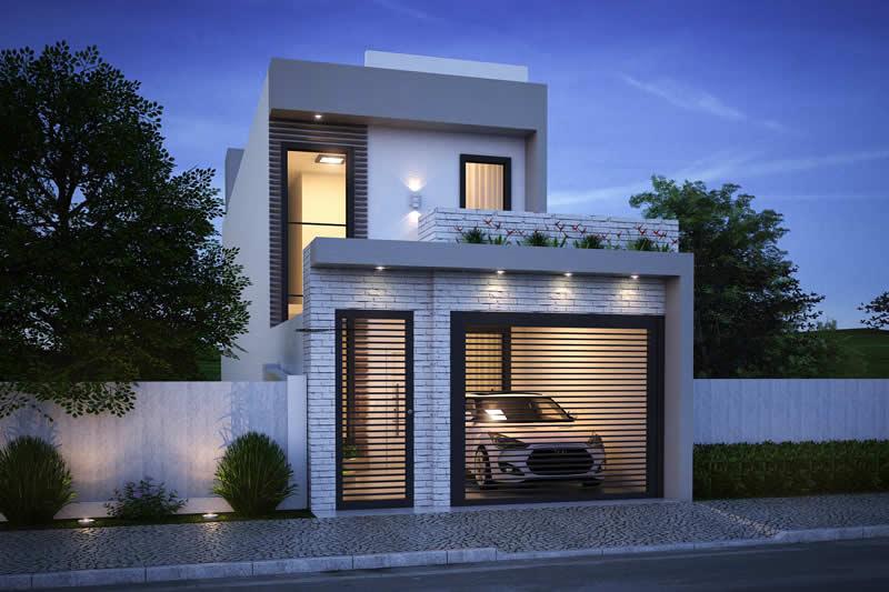 Fachada de casa simples com tijolo branco