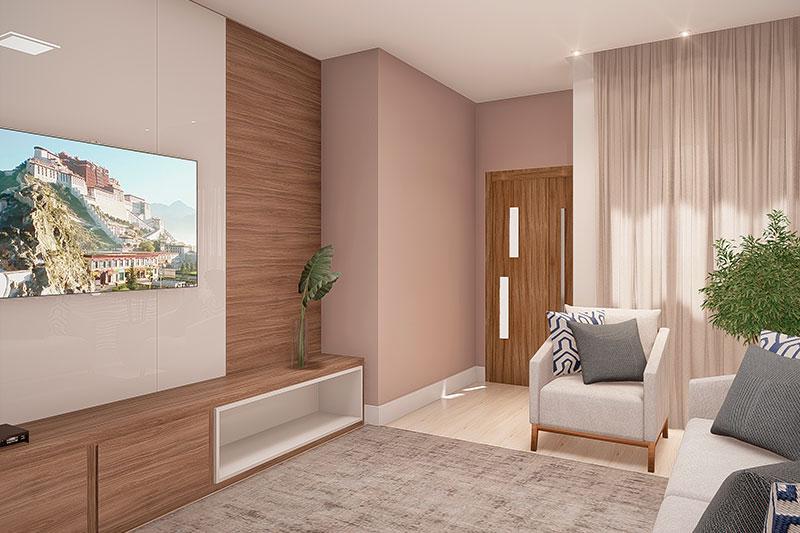 Sala de TV com móveis em madeira