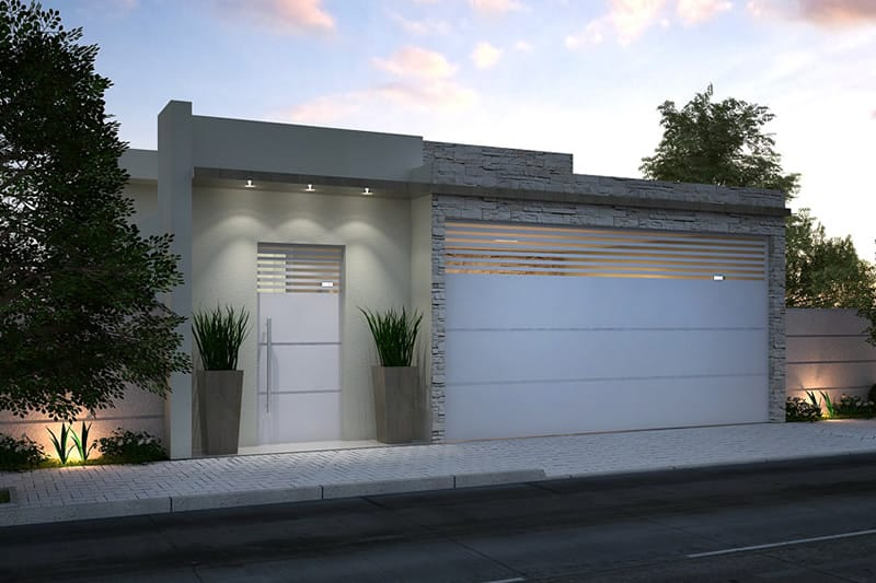 Casa fechada com portão e revestimento